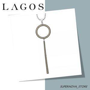 Lagos Enso Circle Gold Silver Caviar Bead Pendant